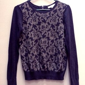 Ann Taylor LOFT Knit Sweater Black Gold Damask Zip
